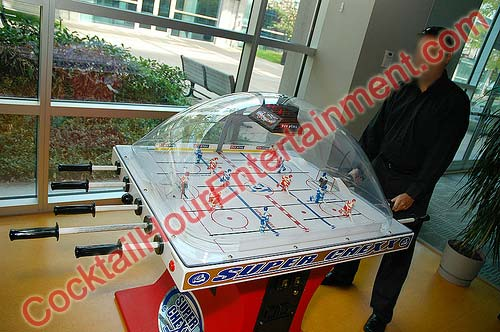 bubble hockey super chexx rod hockey party rental dome game